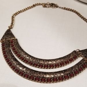 Red and bronze tribal necklace